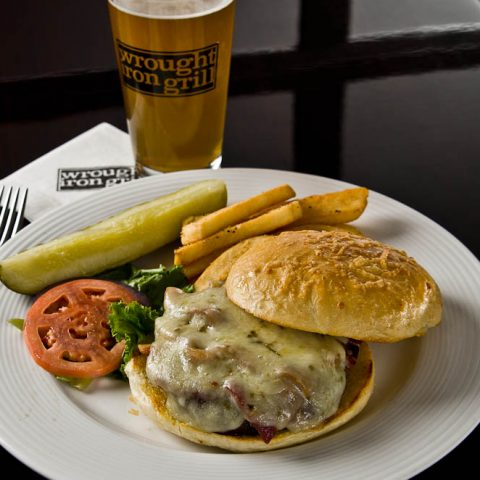 Wrought Iron Grill Owosso. Michigan fine dining restaurant Big Daddy burger with beer